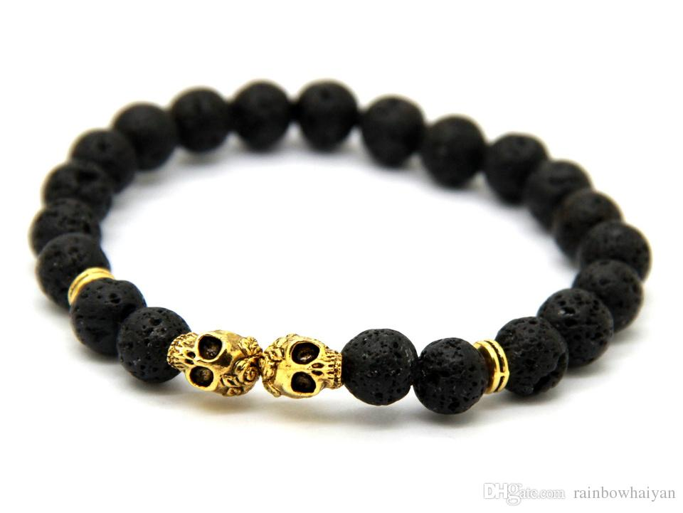 New Products Wholesale Christmas Gift 8MM Lava stone Beads Gold & Silver Skull Yoga Bracelets Party Gift
