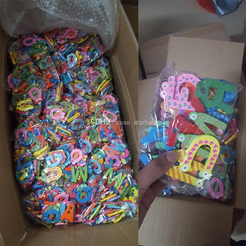 Bebek Mektuplar Oyuncaklar Karikatür Buzdolabı Mıknatısları Çocuklar Ahşap Alfabe Dolabı Magnet Çocuk Eğitim Lerekest Oyuncak Hediye 26 adet / grup WX-C47