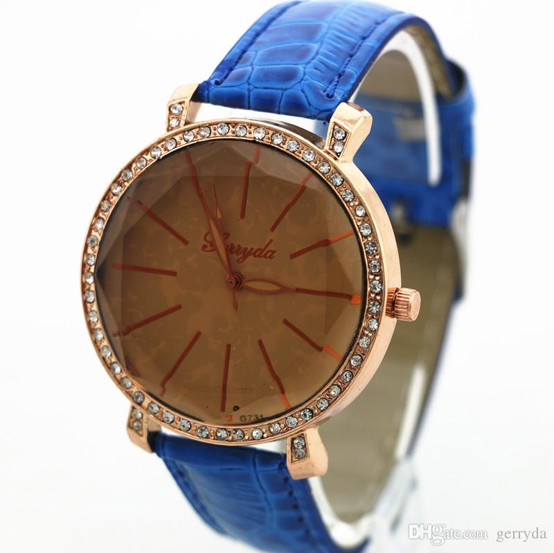 !PVC leather band,tan glass,gold case with rhinestone circle,quartz movement,Gerryda fashion woman lady leather quartz watch731