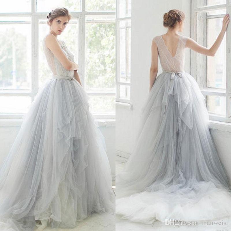 Brautkleid Spitze | Grosshandel 2017 Ombre Tull Brautkleider Spitze Applique Perlen Scoop