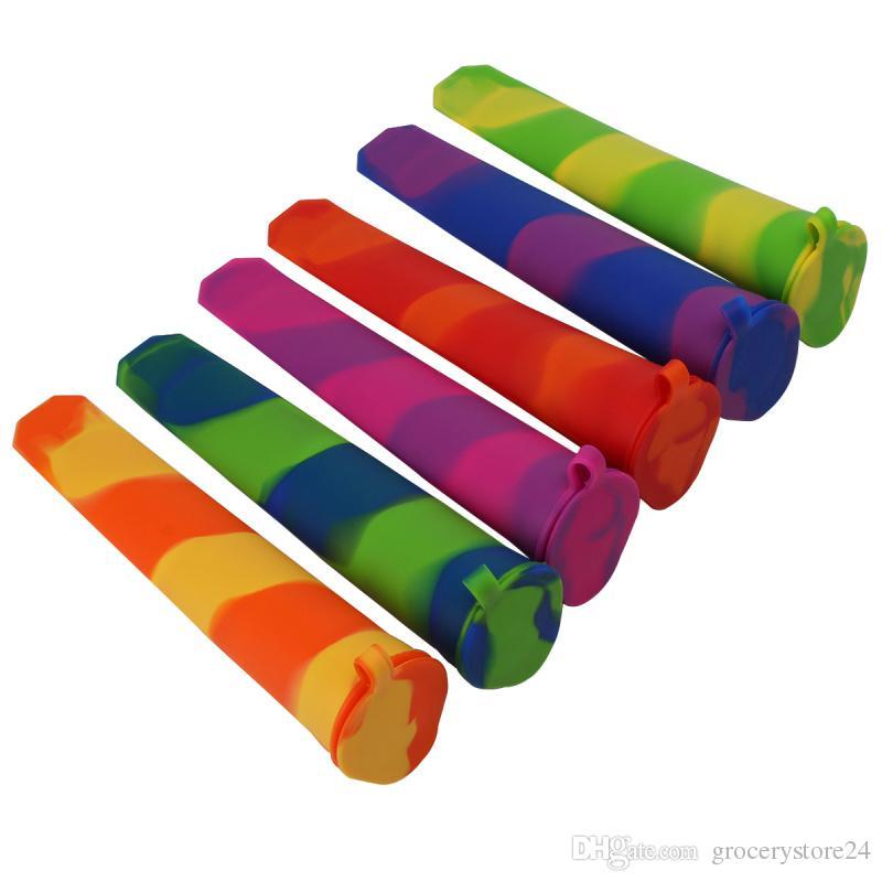 / 세트 다채로운 실리콘 아이스 팝 메이커 튜브 트레이 아이스 캔티 냉동 아이스크림 요구르트 금형 뚜껑 주방 DIY 도구 어린이 선물