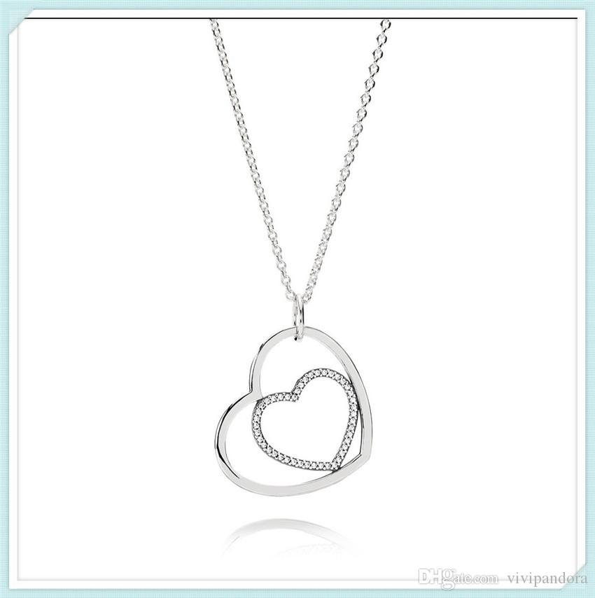 a6c6ee370ecd High-quality 925 Sterling Silver Heart to Heart Necklace Pendant ...