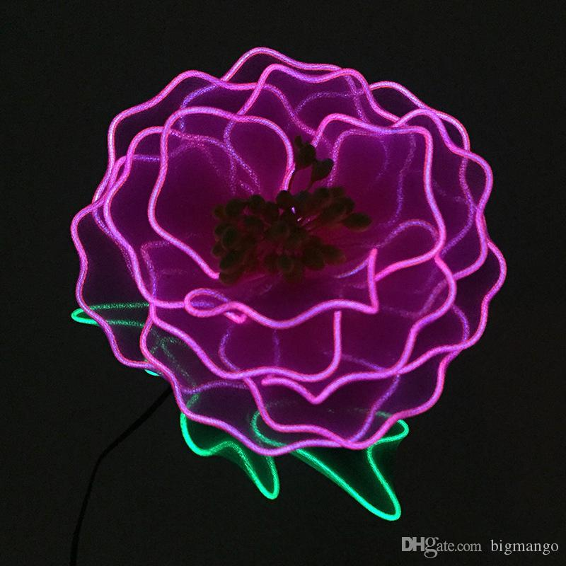 Wire Flower | Dc 3v Purple Peony Led Flashing Flower Neon Glow Light Wire Flower