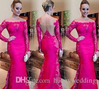 Elegante Pink Mermaid Frauen Abendkleider Abendgarderobe Mit Langen Ärmeln Lace Sheer Backless Plus Größe Schulterfrei Abendkleider Billig