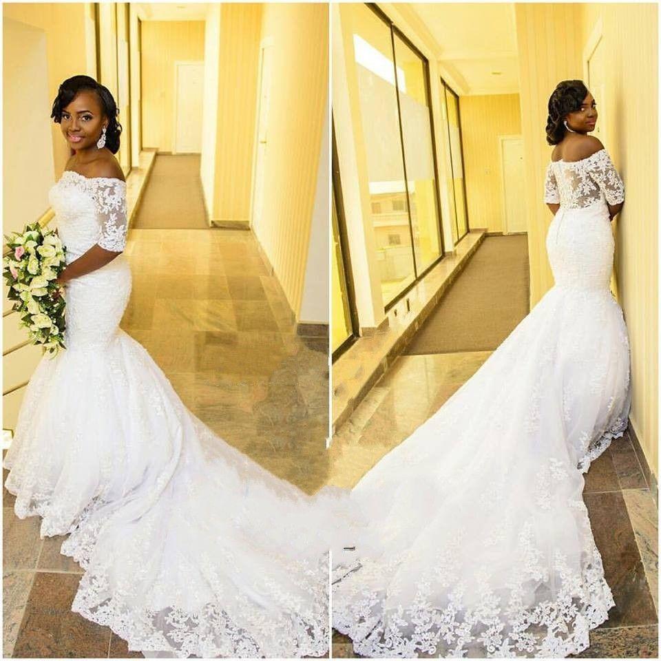 Half Sleeves Lace Mermaid Wedding Dresses Vintage Appliqued Off Shoulder Long Train Bridal Gowns 2019 Plus Size Robe De Mariage