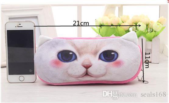 3D Mini Kitten Cat Dog Head Coin Purse Cartoon Character Animal Zipper Change Womens Girls Handbag Case XMAS Pendant Key Rings Gifts HH-B07