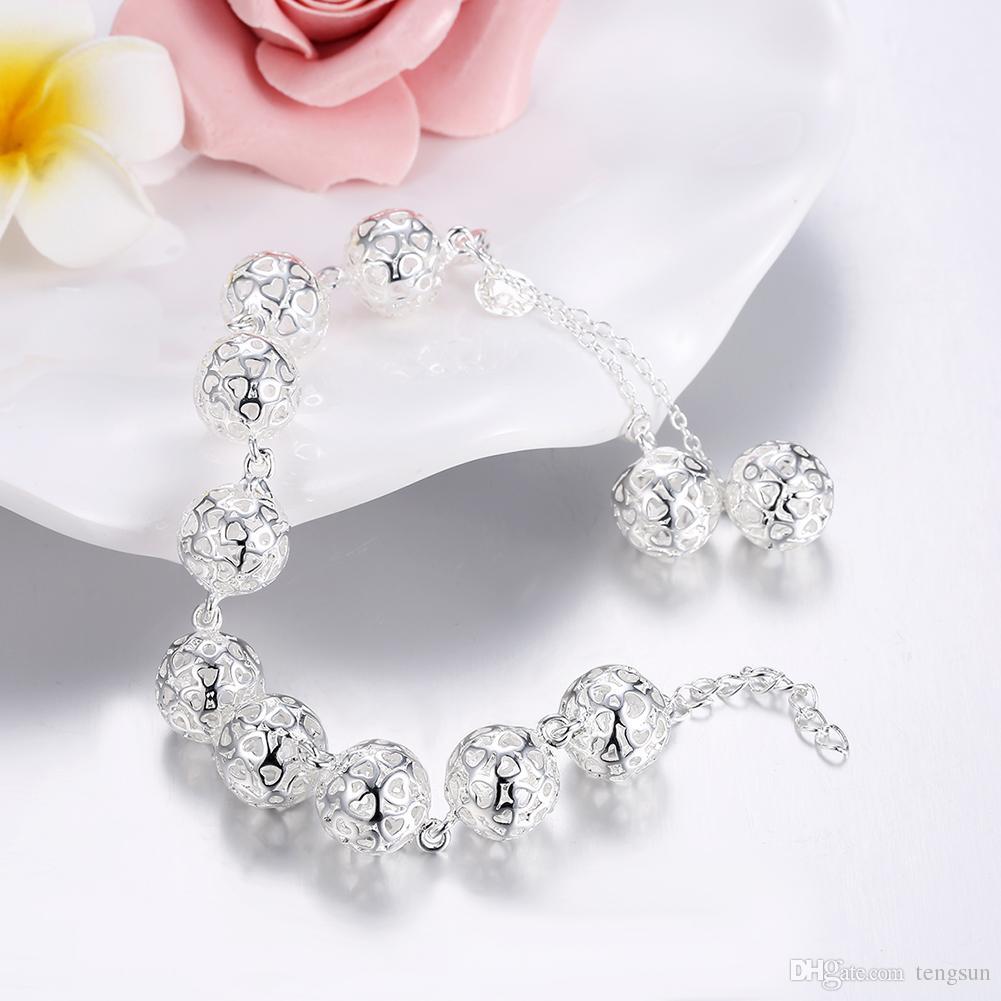 1.4CM Hollow Balls bracelets Women's Jewelry 925 sterling silver 20.5cm bangles H088 gift Pouches