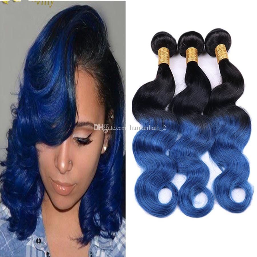 New color ombre 1b blue body wave hair extensions two tone dark 30 pmusecretfo Image collections