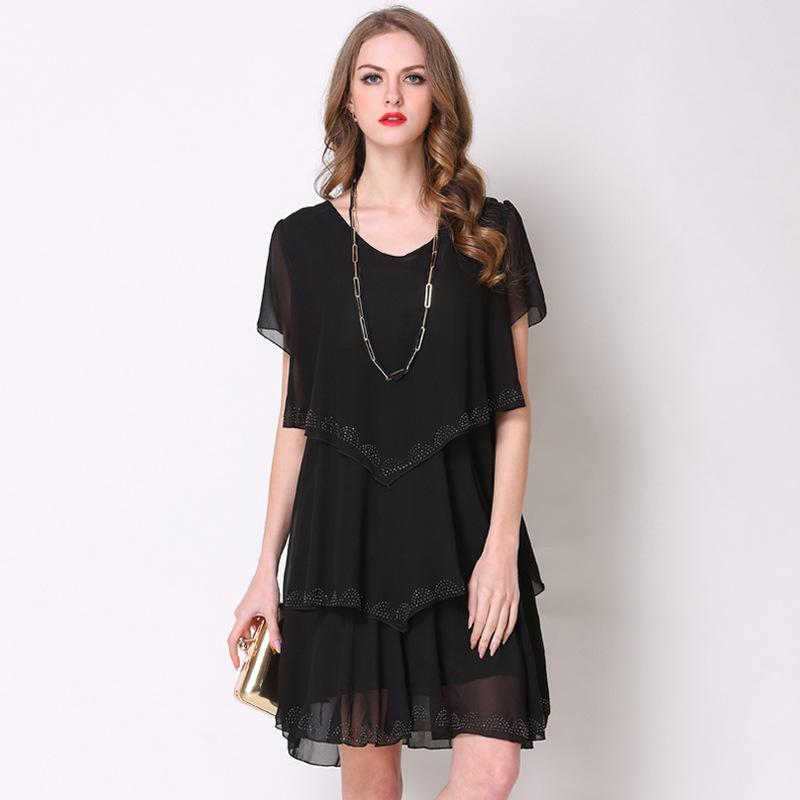 Spring And Summer Womens Tiered Chiffon Plus Size Short Sleeve V