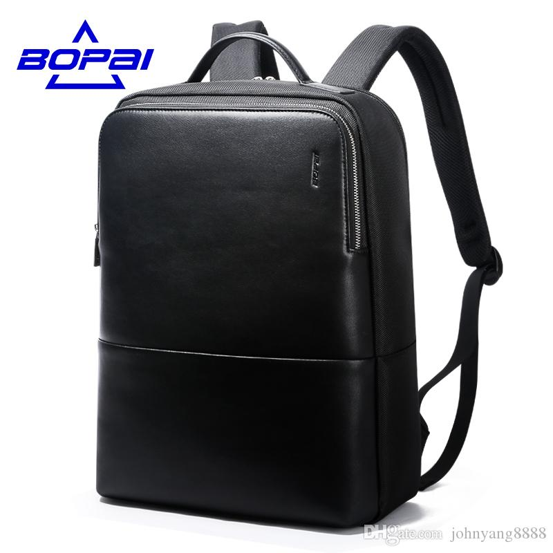 6a501e6e3b1 2019 2017 BOPAI Cool Mens Backpacks Man Rucksack 14 Inch Laptop Bag Student  Schoolbags Men Travel Leather Backpack Bags Black Bags From Johnyang8888