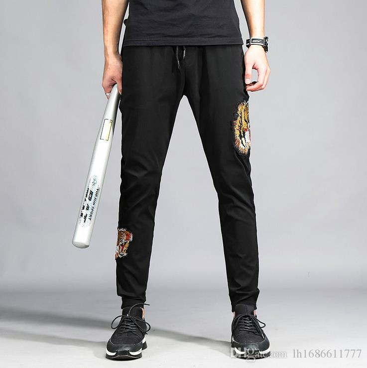Мужские брюки вышивка стиль карандаш брюки мужские Jogger Sweatpants Повседневный Хип-хоп скейтборд брюки