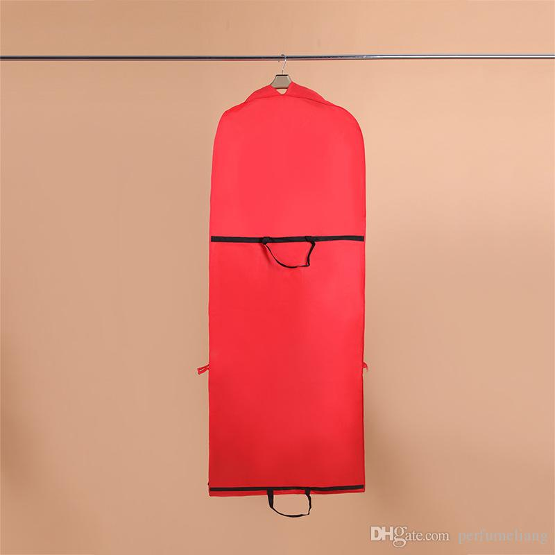 180*60*10cm Red Garment Bag for Wedding Dress/Wedding Gown Non-woven Foldable Dust Cover Storage Carry-on Bag ZA4232