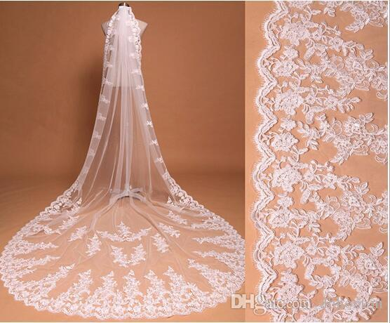 Bridal Wedding Veils Three Meters Long Veils Lace Applique Crystals Cathedral Length Cheap Bridal Veil HT95