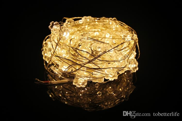 Flower shaped outdoor light white warm white AA Battery operated 20LEDS Copper Wire christmas Xmas LED Strings Starry Fairy lights sales