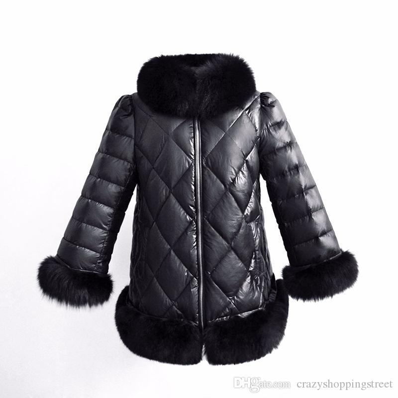 Black Quilted Long Jacket For Women Faux Fur Trim High Neck Long Sleeve Parka Coat Petite Ladies Winter Casual Coats