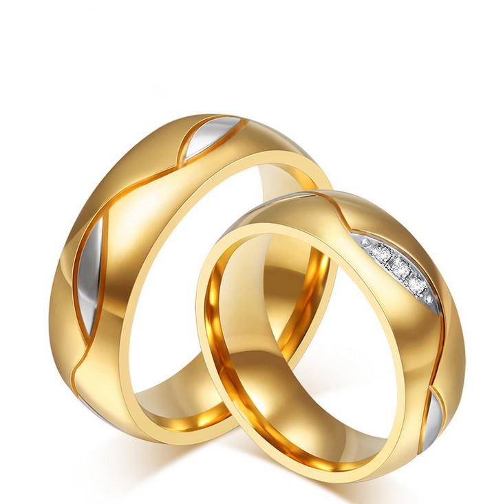 2018 Couple Rings Diamond Lover 18k Gold Plated Black Golden ...