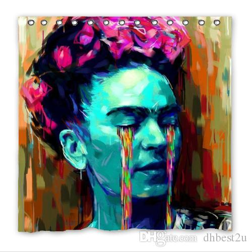 2018 Fashion Design Frida Kahlo Bathroom Waterproof Polyester Fabric Shower Curtain With Hooks Wholesale Five Sizes For Ur Choice From Dhbest2u