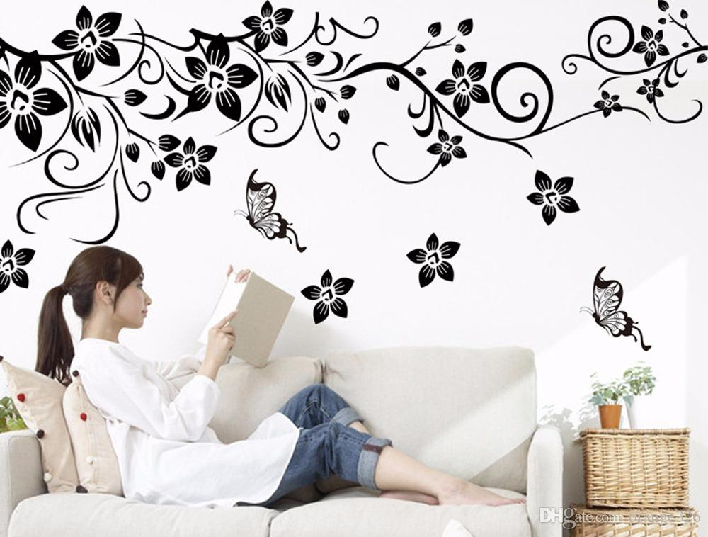 Hot DIY Wall Art Decal Decoration Fashion Romantic Flower Wall Sticker/ Wall Stickers Home Decor 3D Wallpaper