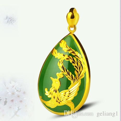 Золото инкрустированные зеленый нефрит капли воды Феникс очарование ожерелье кулон талисман