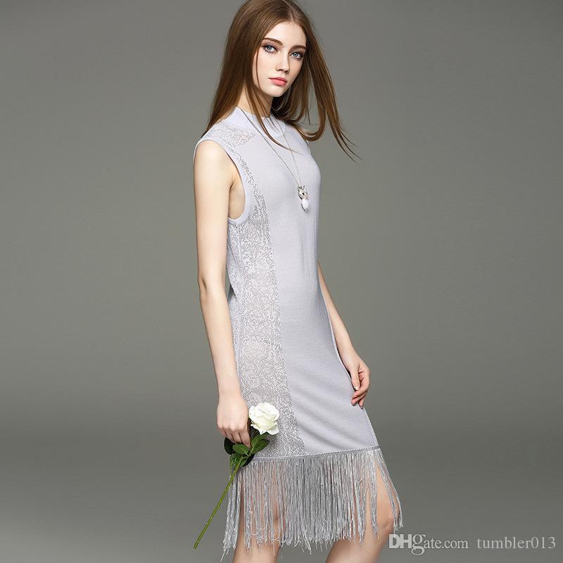 En el verano de 2016 el nuevo vestido sin mangas bordado delgado sin mangas de la borla de la cadera del bolso de punto de las mujeres