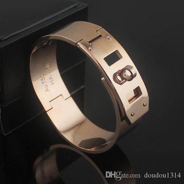 H Letter Rotary Buckle Three Adjustment Buckles Wide Bangles For Men Women Top Quality 18K Rose Yellow Gold Plated New Luxury Design Jewelry