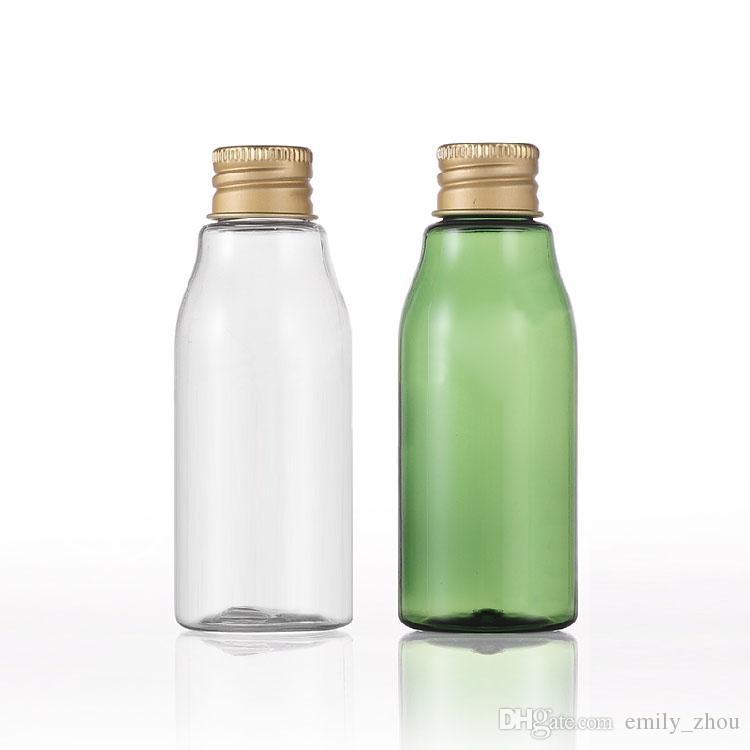 100 SZTUK 60ml przezroczysty zielony podróż mały kremowy balsam pompa butelka zwierząt domowych do opakowań kosmetycznych, pojemnik na butelkę z aluminiową z aluminiową czapką