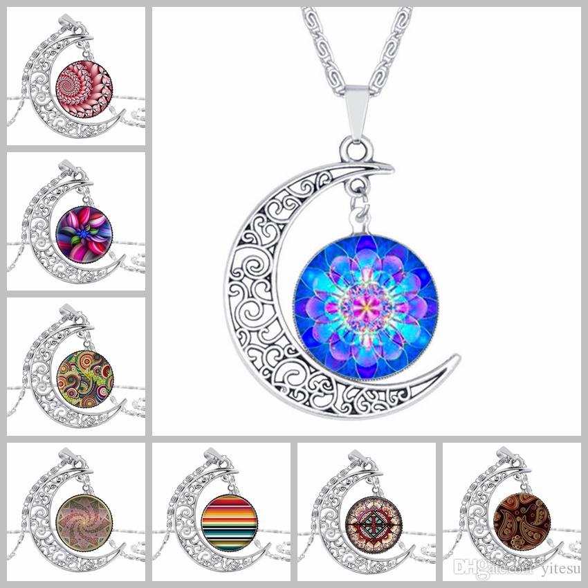 Collana vintage argento Moon Yoga henné ciondolo fiore collane India mano loto collana gioielli mandala simbolo buddismo regalo di Natale