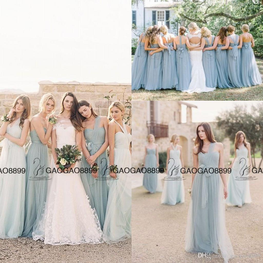 Jenny Yoo Convertible Sea Glass Elegant Boho Beach Bridesmaid Dresses 2016 Custom Make Cheap Maid Of Honor Wedding Party Bridesmaids Gown: Pink Blue Silver Wedding Dresses At Reisefeber.org