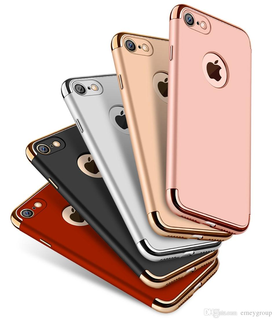 For iPhone x xs max xr 6s 7 8 Plus Neo Hybrid Hard Matte PC Armor Gold Back Cover for Apple Premium Combo 3 in 1 Shockproof Phone Cases