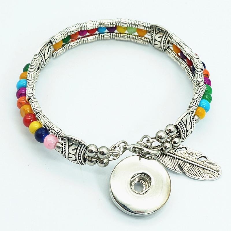 New Ab0059 Colorful Silver /Glass Beads Feather Part Snap Bracelet Fit 18mm Snap Buttons Snap Jewelry