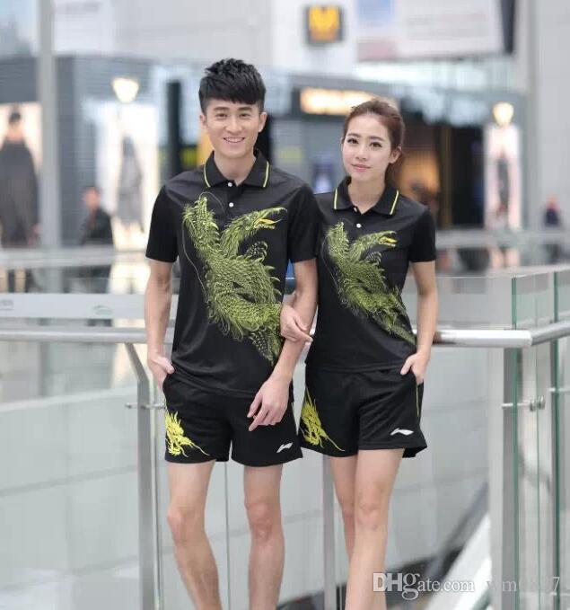 Novos 2016 Li-Ning badminton e ténis de mesa roupas esportivas queridos ternos absorção de umidade da transpiração poliéster de secagem rápida tecido
