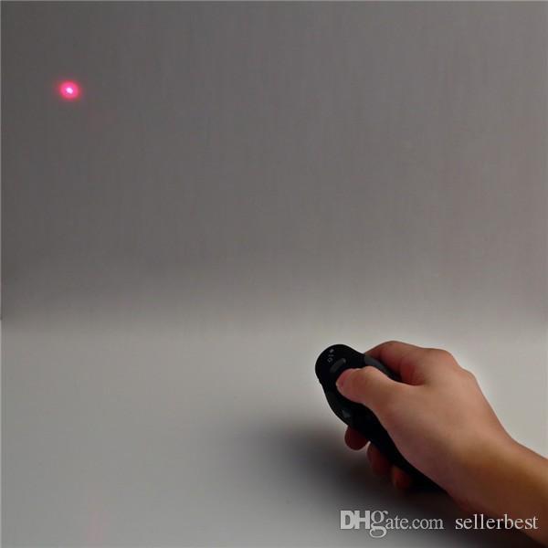 con caja de venta al por menor 2.4 GHz 2.4 GHz Inalámbrico USB Presentador de PowerPoint Control remoto con lápiz láser rojo Lápiz puntero RF Página arriba / abajo al por mayor