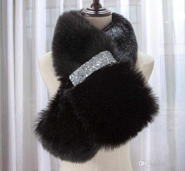 New Style Winter warm Full Pelt Fox Fur Scarf Collar With Diamond Button Wram Winter Wraps Scarves cc762