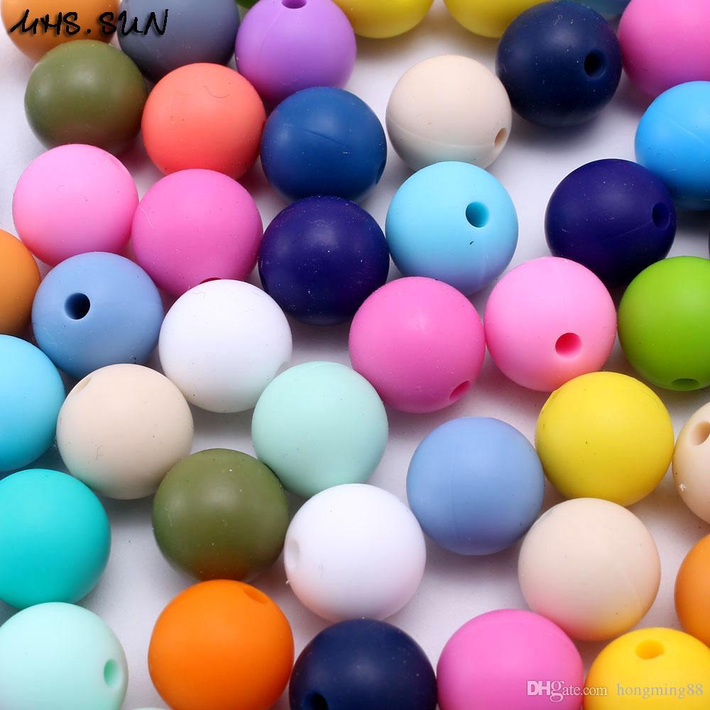 zufällige Mischungs-Farbe BPA geben frei DIY runde Silikon-Kauen bördeln Nahrungsmittelgrad-Zahnen-weiche Silikon-Beißring-Korne Baby NecklaceBracelet gebildet