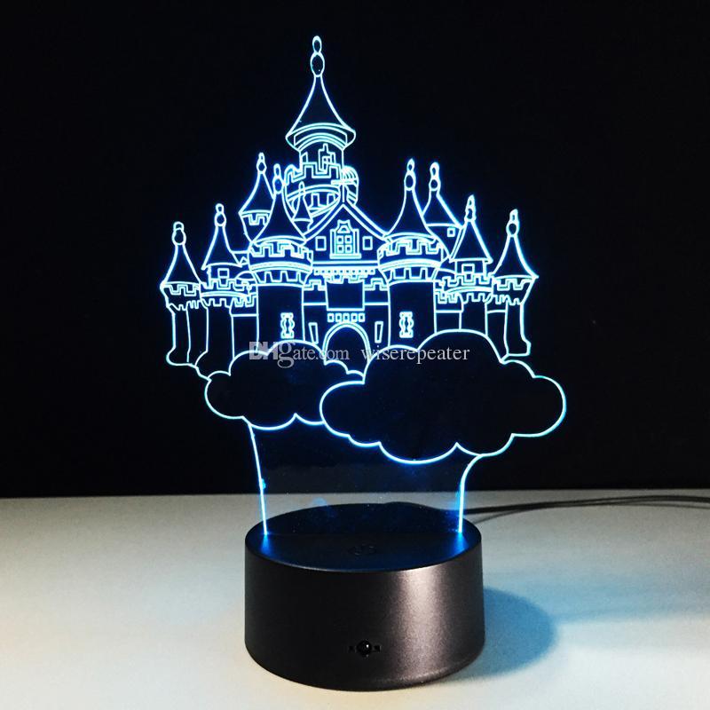 2016 Castle 3D Optical Illusion Lamp Night Light DC 5V USB AA Battery Wholesale Dropshipping Retail Box