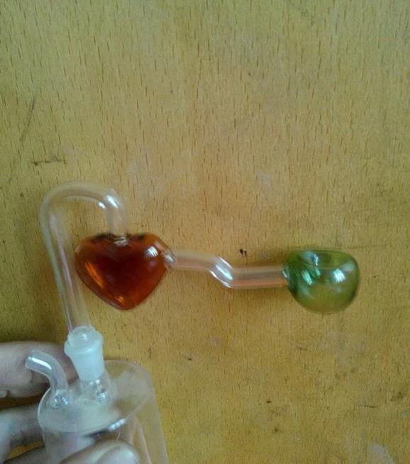Cor coração recesso pote --glass cachimbo de vidro fumar Bongos de vidro - plataformas de petróleo bongos de vidro cachimbo de vidro cachimbo de fumar - vape-vaporizador