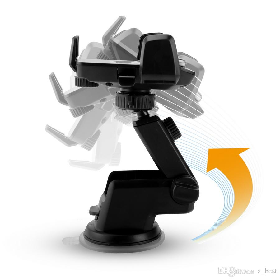 Universal 360 Graus Fácil One Touch Car Mount para iPhone X MAX Handfree Inteligente Titular Celular Ventosa Cradle Stand Titulares com o Pacote