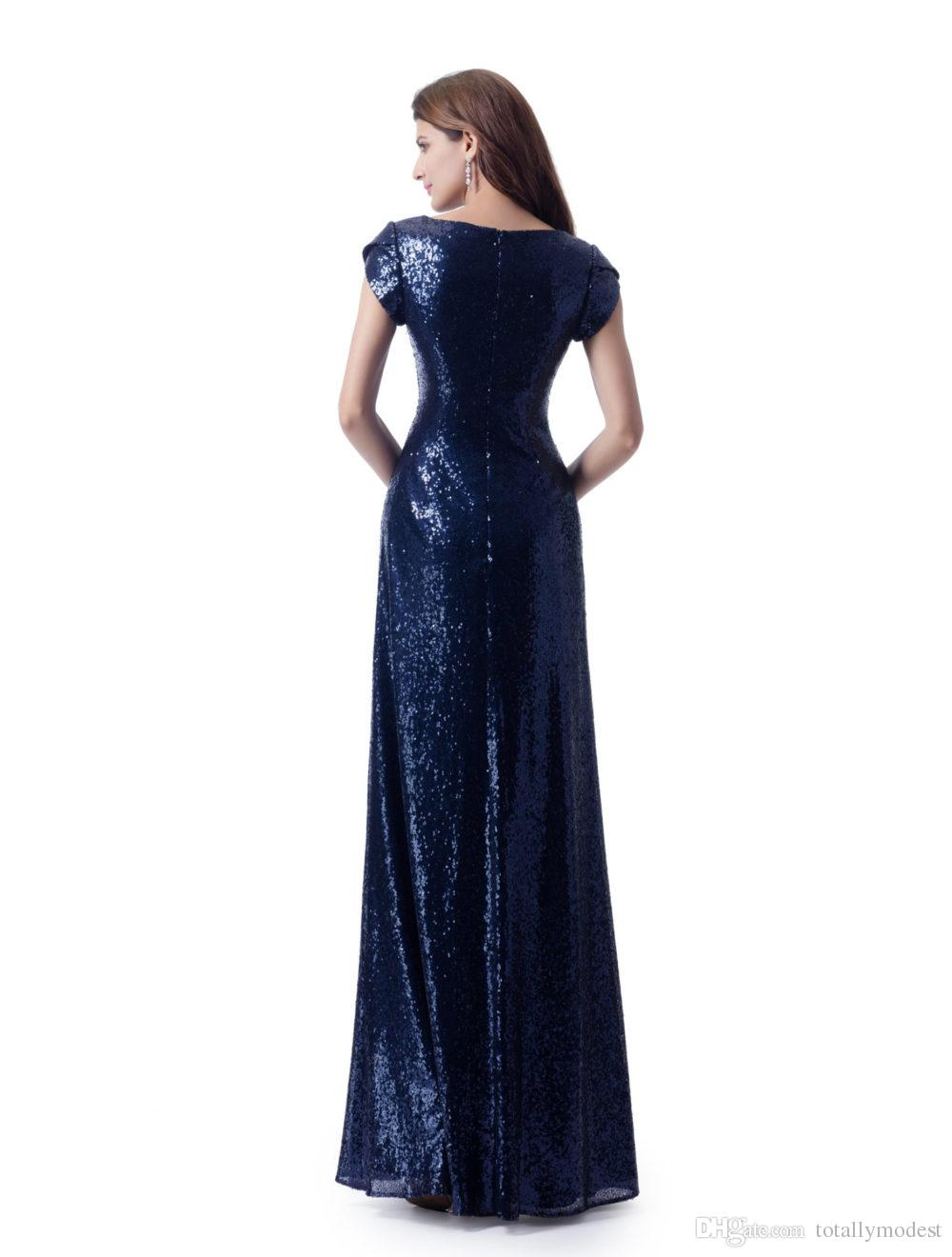 Navy Blue Sequins Long Modest Bridesmaid Dresses With Short Sleeves Fit Formal Wedding Party Dresses For Winter Wedding Custom Made