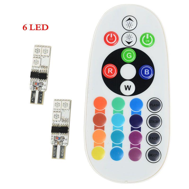 Universale 2 pz / set Telecomando 6 LED / 12 LED T10 Interni auto RGBW LED Dome Lampada da lettura DC 12V SMD 5050 Lampadine auto Luce Sourse
