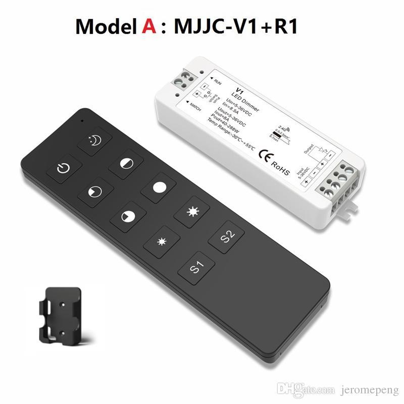 MJJC LED Dimmer 12V 5V 24V 36V 8A PWM Interruptor de atenuador inalámbrico RF LED ENCENDIDO APAGADO con control remoto 2.4G para una sola tira de LED de color
