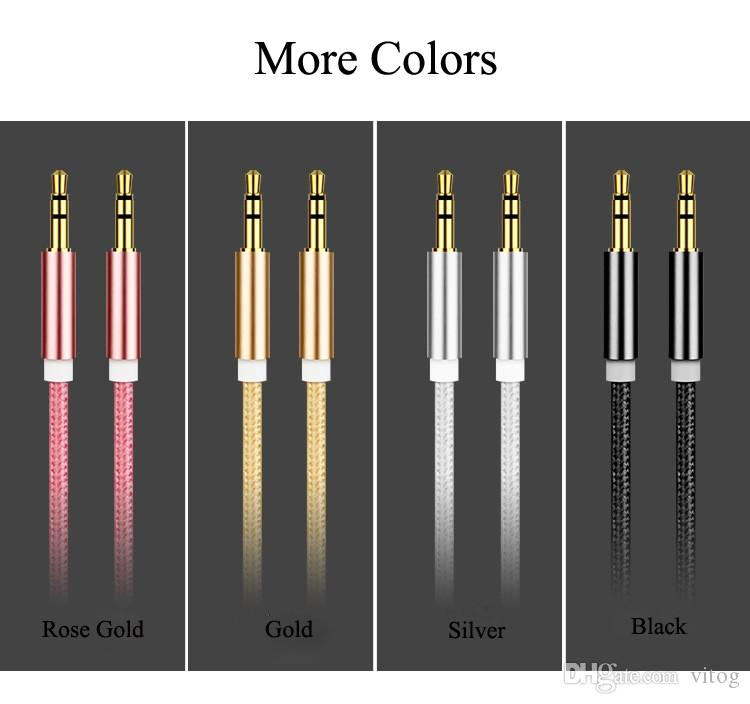 Aux Cable 3.5mm to 3.5 mm Nylon Wire Gold-plated Plug Male to Male Audio Cable With Package for Car Mobile Phone MP3 / MP4 Headphone Speaker
