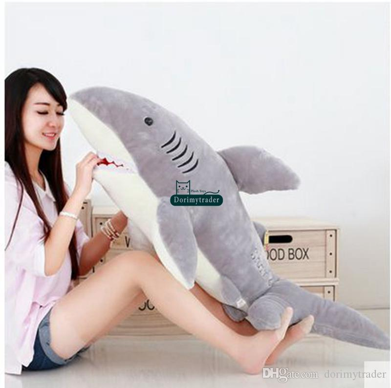 DorimyTrader 130 cm Enorme adorabile Soft Animal Shark Peluche Giocattolo Giant 51 '' Squali Emulational Sharks Peluched Bambini Gioca a Doll Pillow Dy61321