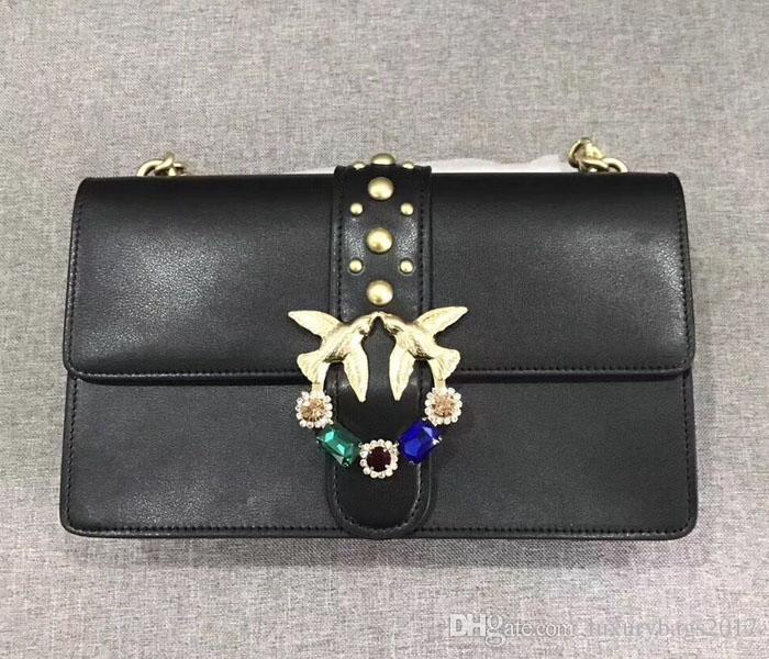 2018 new arrival women leather shoulderbag with chainfree shipping classic black brand name luxury bag with whosale price hot selling
