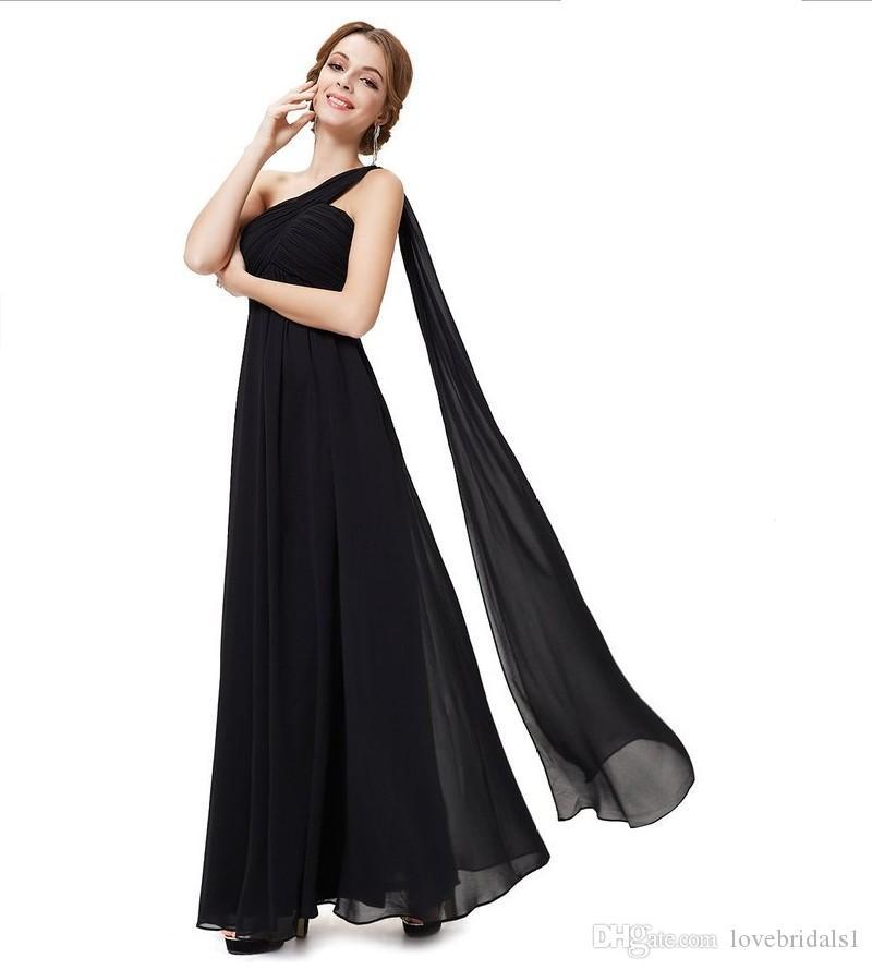in stock one shoulder A-line chiffon evening dress back zipper ruffle floor length cheap formal wedding guest dress for women