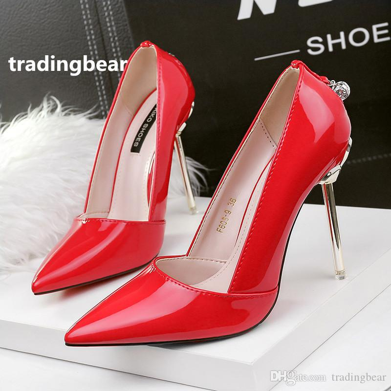 88377fe701d464 Ladies High Heels D Orsay Pumps Rhinestone Red Patent PU Leather Wedding  Shoes Size 34 To 39 Oxford Shoes Ladies Shoes From Tradingbear
