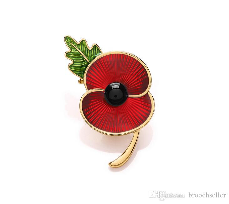 1.8 Inch Red Enamel Poppy Flower Brooch with Green Leaf UK Remembrance Day Souvenir Gifts