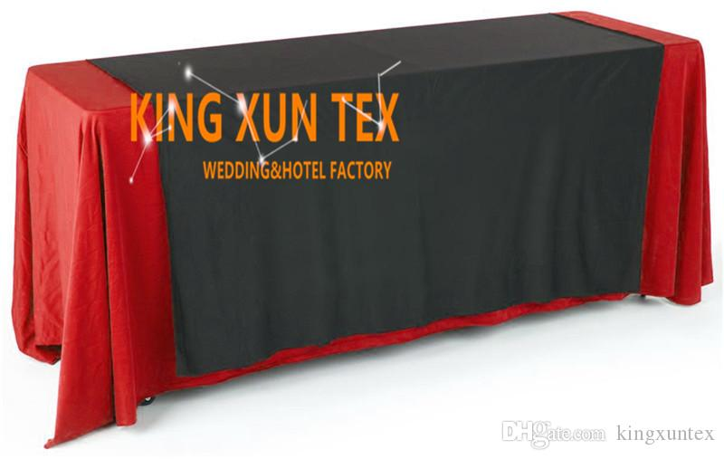 6ft Long Rectangular Polyester Table Cloth With Top Black Color Table Runner For Wedding And Event Decoration