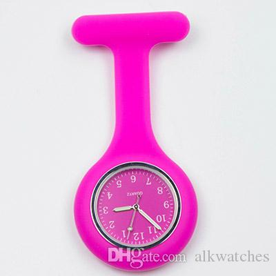 Fob silicon nurse pocket watch for hospital nurse doctor use brooch lapel timepiece gift colorful pink purple red nursing clock