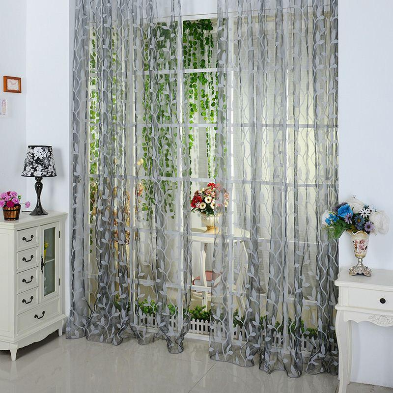 2015 New Chic 200*100cm Chic Leaf Type Tulle Door Window Tulle ...