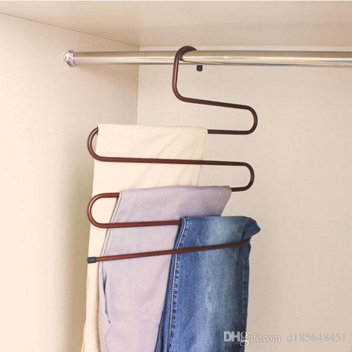 S-type Multi-functional Wardrobe Magic Pants Rack Multilayer Iron Men And Women Slip Hanger Pants Folder Coat Pants Scarf Hanger